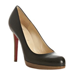 Christian Louboutin Wedge Leather Patent Wood Trim Blac Pumps