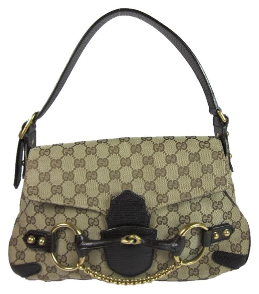 e19bb697380a Gucci Horsebit Monogram Logo Metal Khaki Jacquard Canvas & Leather ...