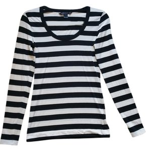 French Connection Scoop Neck T Shirt Long sleeve, black & white stripe