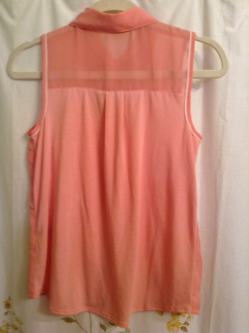Vera Wang Woven: Polyester Knit: 65% Polyester 35% Rayon Top Pink with white