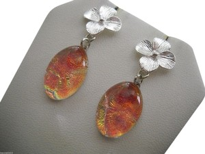 Other Amber Gold Pulmeria Dichoric Flower Earrings