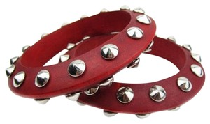 Set of Red Wood and Silver Bracelets
