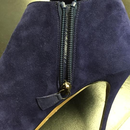 Nicholas Kirkwood Stiletto Suede Leather Snakeskin 7.5 Heel Ankle Ankle Navy Blue Black Boots
