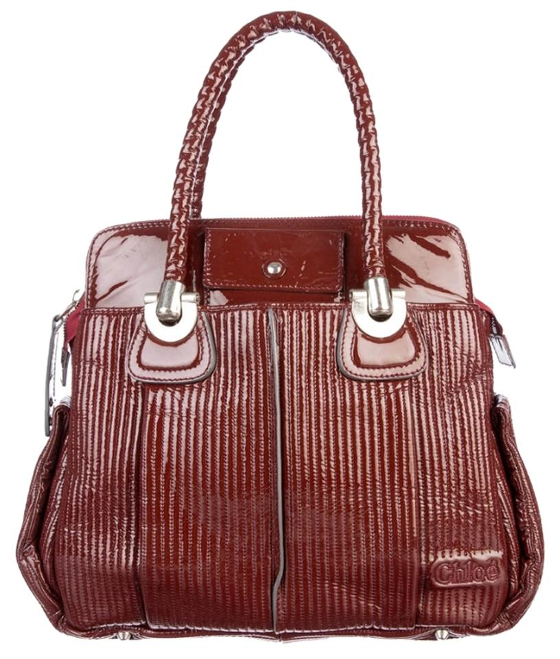 8cd9eea535d Chloé Heloise Maroon Patent Leather Tote - Tradesy
