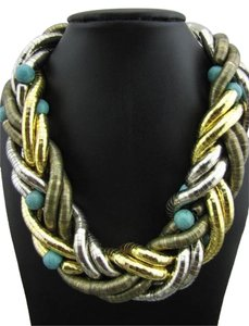 Chunky Fashion Style Faux Turquoise Bead Twist Pendant Necklace