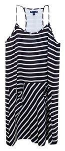 Gap short dress Black Striped Polyester Short on Tradesy
