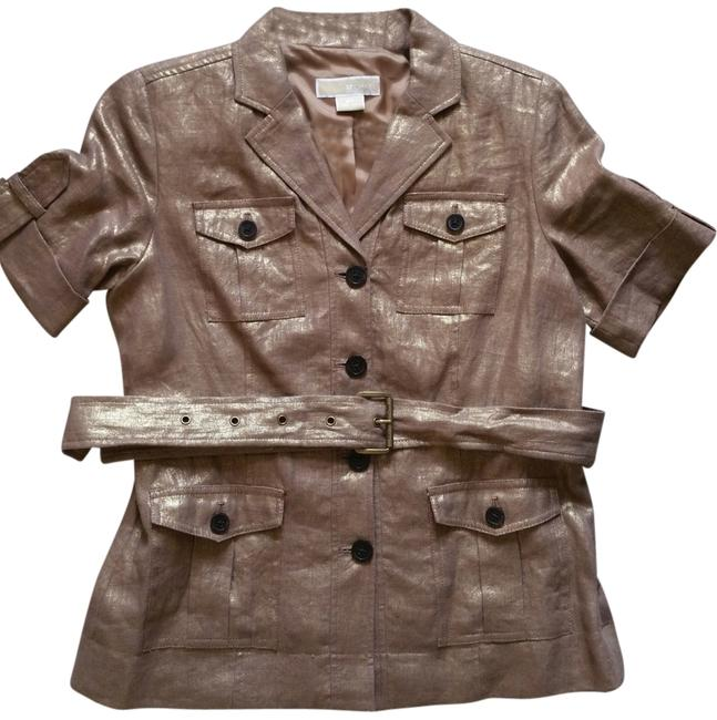 Preload https://item5.tradesy.com/images/michael-kors-bronze-metallic-shortsleeve-tortoise-shell-buttons-belted-jacket-night-out-top-size-pet-4626499-0-0.jpg?width=400&height=650