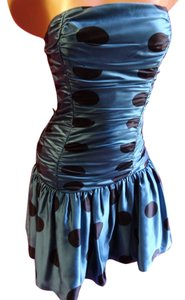 Betsey Johnson Mermaid Polka Dot Pinup Satin Rooched Gathered Rockabilly Prom Sweet Sweetheart Sweet 16 Silk Silk Vintage Dance Girly Dress