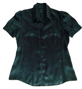 Banana Republic Silk Blouse Button Down Shirt Black