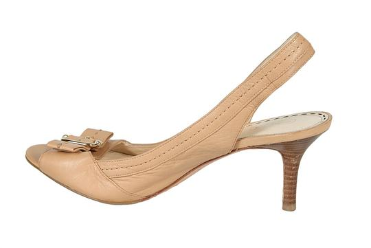 Coach Leather Buckle Detail Nude Sandals