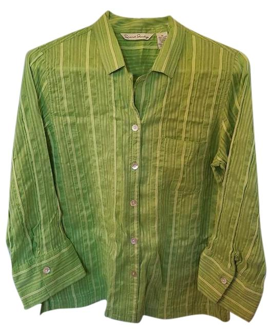 Preload https://item2.tradesy.com/images/french-laundry-green-women-s-rayonsilk-button-down-34-sleeve-blouse-size-8-m-4627186-0-2.jpg?width=400&height=650