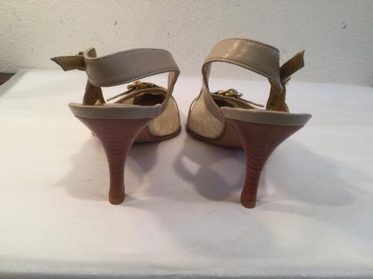 Stuart Weitzman Stack Wood Heels Strap Gold Rings Beige lace and taupe leather padded insoles slingback Pumps