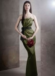 Vera Wang Green Satin Draped Grosgrain Sash Style Vw360 Formal Bridesmaid/Mob Dress Size 10 (M)