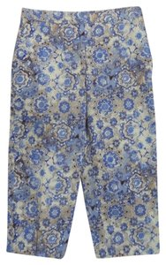 Kim Rogers Capris Blue and Beige Geometric Print