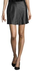 BCBGMAXAZRIA Faux Leather Flared Mini Skirt Black