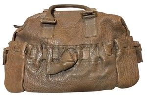 Adrienne Vittadini Leather Soft Satchel in taupe/grey