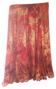 Coldwater Creek Burnout Skirt Red/Gold multi