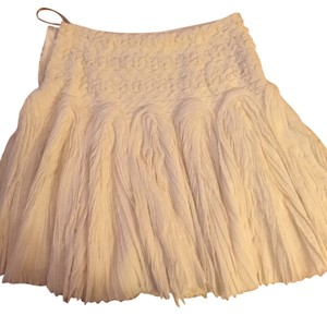 Hervé Leger Chiffon Silk Ruffled Mesh Mini Skirt Off White/White