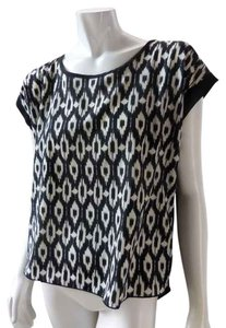 Amber Blue Ethnic Tribal Western Top Black White