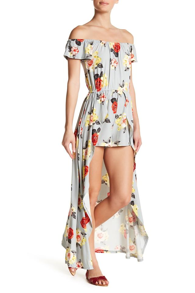00159abe9975 Poof! Apparel Concrete Grey Floral Overlay Romper Jumpsuit - Tradesy