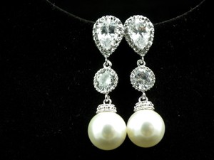 Pearl Bridal Earrings Cubic Zirconia Sterling Silver Post Earrings Swarovski Pearls White/ Ivory Bridesmaid Earrings