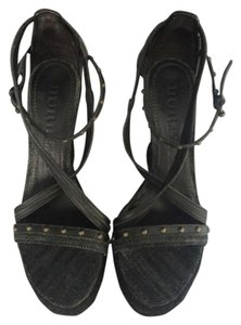 Burberry Studded Espadrille Black Wedges