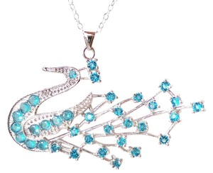 Other Stunning Swiss Blue Topaz Peacock 925 Sterling Silver Pendant Necklace