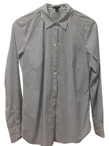 Ann Taylor Button Down Shirt Blue and white stripe