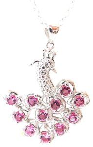 Other Pretty Pink Topaz 925 Sterling Silver Peacock Pendant Necklace