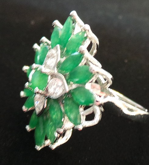 Other Natural Columbian Emerald 925 Sterling Silver Cocktail Ring 7.5