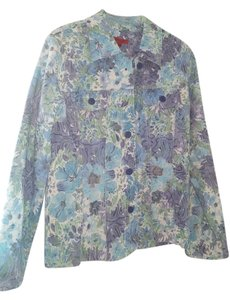 Joni B Button Down Shirt Blue Green Multi Floral