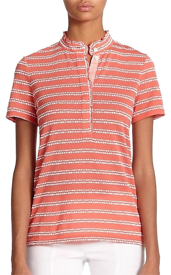 Tory burch melon striped polo ruffled color size small for Tory burch button down shirt