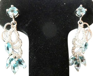 Other Lovely Sky Blue and White Topaz 925 Sterling Silver Dangle Earrings