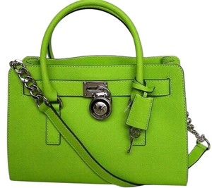 Michael Kors Mk Hamilton Medium Green Green Hamilton Mk Saffiano Leather Satchel in Pear Lime Green/Silver Tone Hardware