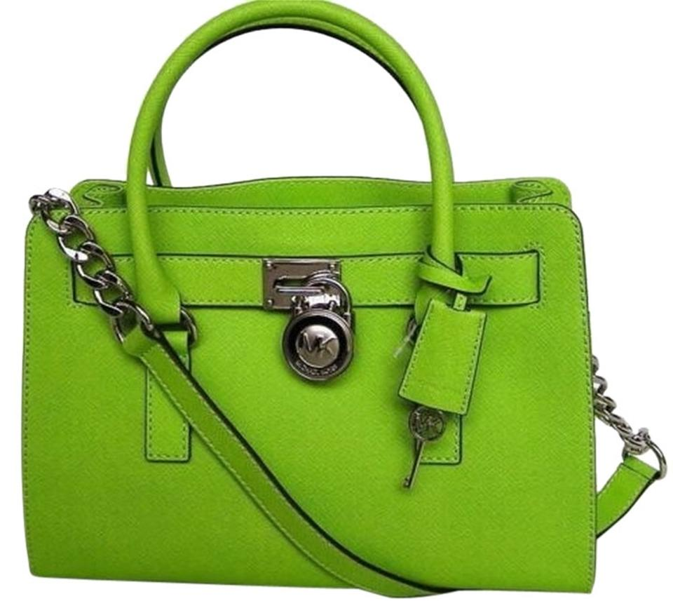 e85dcb35fc4e Michael Kors Mk Hamilton Medium Hamilton Mk Saffiano Leather Satchel in  Pear Lime Green/Silver ...