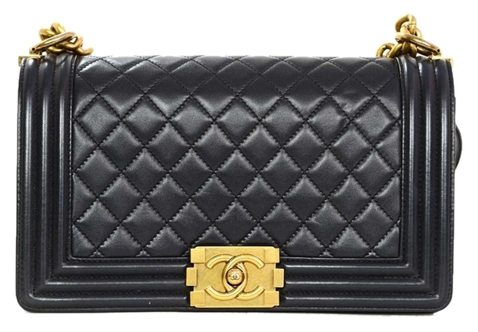c4189f4a657a Chanel Gold Gold Hardware Boy Quilted Chain Strap Medium Cross Body Bag  Image 0 ...