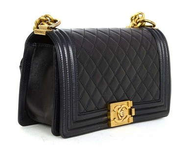 Chanel Quilted Boy With Gold Hardware Pearly Black