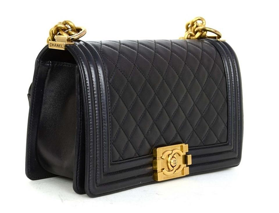 f2e6e005fe4c Chanel Boy With Gold Hardware Pearly Black Quilted Lambskin Leather Cross  Body Bag