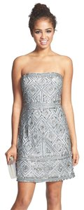 Adrianna Papell Strapless Beaded Tribal Dress