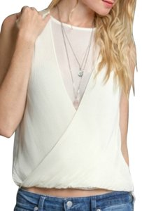 Ya Los Angeles Layer-look Pleated Sheer Top Cream