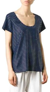 Joie Top Blue Metallic strip