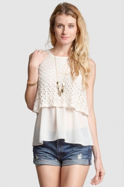 Ya Los Angeles Sleeveless Layered Lace Top Cream