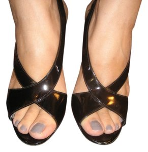 Theory Italian Patent Leather Slingback Open Toe Black Sandals