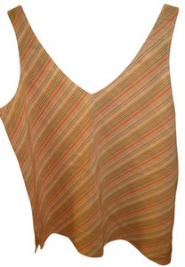 Theory Shell Silk V-neck Striped Top Pink Yellow