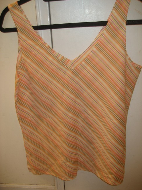 Theory Shell V-neck Striped Top Pink Yellow