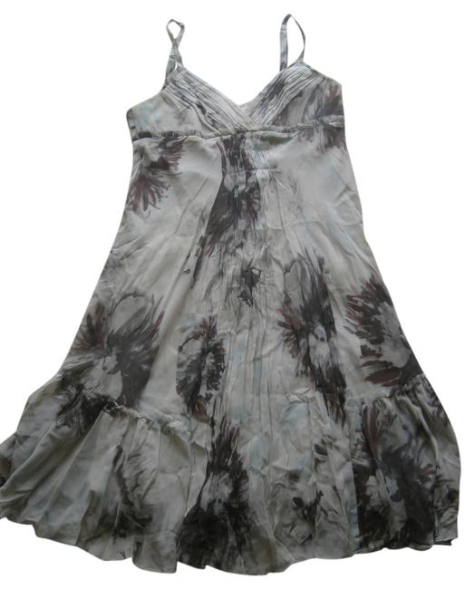 BCBGMAXAZRIA short dress Gray White Floral Silk Halter Flared on Tradesy