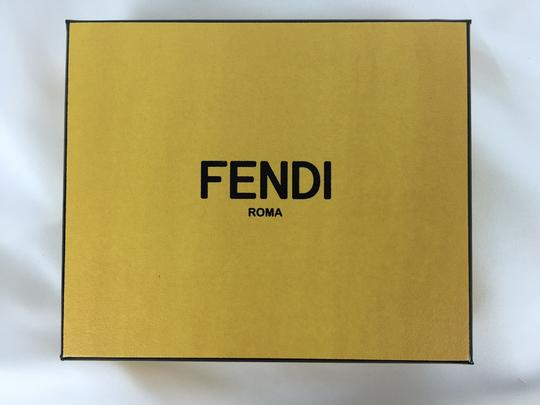 Fendi Fendi Red and Black Saffiano Card Wallet Yellow Monster Buggies Eyes.