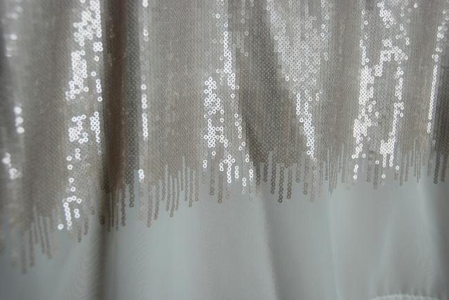 H&M Nude Sequins Lined Unlined Chiffon Top White