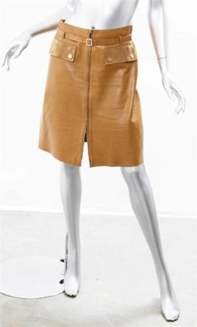 Gucci Leather Pencil Skirt Camel