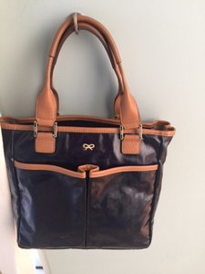 Anya Hindmarch Classic Leather Tassel Tote in navy blue and tan